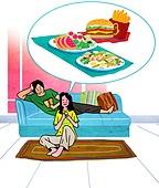 배달음식, 배달, 라이프스타일, 스마트폰, 모바일어플리케이션 (인터넷), 배달 (일), 샐러드, 커플, 거실, 햄버거, 패스트푸드 (테이크아웃)