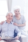 Happy elderly couple in the living room