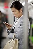 Young women take the subway