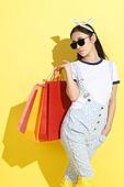 Fashionable young women shopping