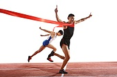 Two track and field athletes in the competition