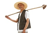 Carrying a hoe farmers