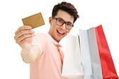 Young men take credit card shopping