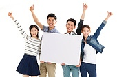 Four young college students take the white board