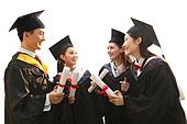 College students wearing a bachelor's degree to celebrate graduation