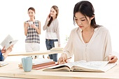 Young college students in learning