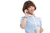 Youthful vitality of the young woman make a phone call