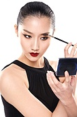 The young woman makeup