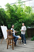 Couple of painting in the courtyard