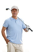 The middle-aged man carrying a golf club