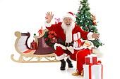 A Santa Claus and Christmas gifts