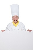 Wearing a chef's old man with a white board