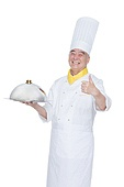 An elderly man wearing a chef's cock thumb