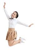 A high school girl jumps