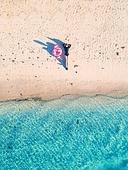 해변, 여름, 여행, 탑앵글, 잠, 여성