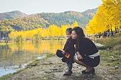 어린이 (인간의나이), 가을, 호수, 강변, 엄마, 딸