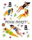 사람, 라이프스타일, 패턴, 풀파티, 수영복, 스피커, 비치볼