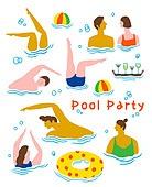 사람, 라이프스타일, 패턴, 풀파티, 수영복, 커플, 수영 (움직이는활동)
