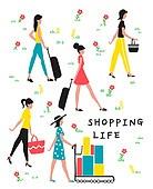 사람, 라이프스타일, 패턴, 쇼핑, 여성 (성별), 쇼핑백