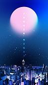 백그라운드, 밤 (시간대), 하늘, 야경, 환상 (컨셉), 포스터, 별 (우주), 컬러풀, 도시