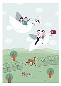 평화, 남북통일, 통일, 어린이 (인간의나이), 동물, 태극기, 북한기 (국기), 도브 (조류), 가로장 (경계선), 잔디밭 (경작지), 사슴 (발굽포유류), 너구리
