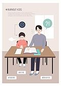 번아웃증후군 (격언), 어린이 (인간의나이), 초등학생, 피로 (물체묘사), 스트레스, 우울, 우울 (슬픔), 교육 (주제), 책상