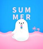 여름, 휴가, 캐릭터, 배너