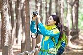 여성, 하이킹 (아웃도어), 등산복 (옷), 혼자여행 (여행), 산, 산림욕, 산림, 숲, 카메라, 촬영