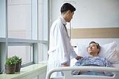 병원, 병실, 건강이상, 의사, 환자, 진찰 (의료행위)