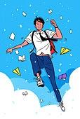 학생, 대학수학능력시험 (시험), 고등학생, 교복, 환호 (말하기), D Day, 여름, 남학생, 콘페티, 하늘, 구름, 종이비행기