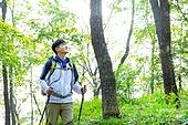 남성, 하이킹 (아웃도어), 산, 혼자여행 (여행), 등산복, 산책길 (보행로), 걷기, 미소, 만족, 풍경보기 (응시)