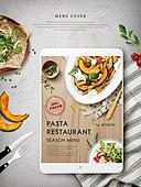 디지털태블릿 (개인용컴퓨터), 음식, 메뉴 (서류), 요리 (음식상태), 서양음식 (음식), 파스타