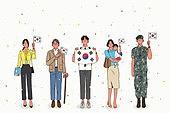 광복절, 콘페티, 대한민국 (한국), 애국심, 태극기, 학생, 고등학생, 비즈니스우먼, 군인