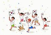 광복절, 콘페티, 대한민국 (한국), 애국심, 태극기, 어린이 (인간의나이), 달리는 (물리적활동), 강아지