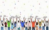 광복절, 콘페티, 대한민국 (한국), 애국심, 태극기, 뒷모습, 여러명[10이상] (사람들)