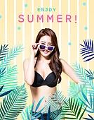 편집디자인, 그래픽이미지 (Computer Graphics), 이벤트페이지, 여름, 비키니, 상업이벤트 (사건), 휴가 (주제), 여성, 수영복, 열대과일 (과일)