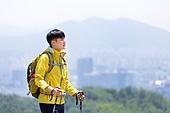 남성, 한명 (사람의수), 산, 산봉우리 (산), 옆모습