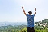 남성, 한명 (사람의수), 산, 산봉우리 (산), 만세, 자신감, 성공, 뒷모습