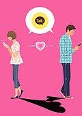 라이프스타일, 청년 (성인), 썸, 로맨스 (컨셉), 커플, SNS, 옆모습, 하트