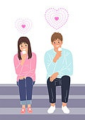 라이프스타일, 청년 (성인), 썸, 로맨스 (컨셉), 커플, 기대 (컨셉), 하트, 아이스크림