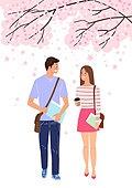 라이프스타일, 청년 (성인), 썸, 로맨스 (컨셉), 커플, 기대 (컨셉), 봄, 걷기 (물리적활동), 대화, 벚나무 (과수)