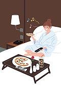 여성 (성별), 호텔, 휴식, 휴가, 휴가 (주제), 피자, 룸서비스, 침대
