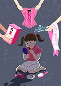 탈코르셋, 여자, 청년 (성인), 편견, 스트레스, 소녀 (여성), 코르셋, 패션인형 (인형)