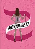 탈코르셋, 여자, 청년 (성인), 편견, 스트레스, 뒷모습, 코르셋, 조이기