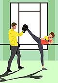 운동, 격투기, 스포츠, 여성 (성별), 청년 (성인), 자기방어 (주제), 발차기