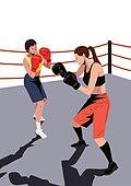운동, 격투기, 스포츠, 여성 (성별), 청년 (성인), 자기방어 (주제), 링경기장 (스포츠장소), 권투, 스포츠글러브 (스포츠웨어)