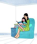 라이프스타일, 읽기 (응시), 책, 휴가 (주제), 취미, 엄마, 어린이 (인간의나이)