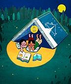 라이프스타일, 읽기 (응시), 책, 휴가 (주제), 취미, 달 (하늘), 밤 (시간대), 어린이 (인간의나이), 잔디밭 (경작지)