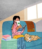 라이프스타일, 읽기 (응시), 책, 휴가 (주제), 취미, 커피 (뜨거운음료), 애완동물 (길든동물), 소파