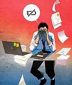 스트레스, 번아웃증후군 (격언), 방전, 스트레스 (컨셉), 번짐, 말풍선, 비즈니스, 화이트칼라 (전문직), 기진맥진 (컨셉), 서류, 노트북컴퓨터 (개인용컴퓨터)
